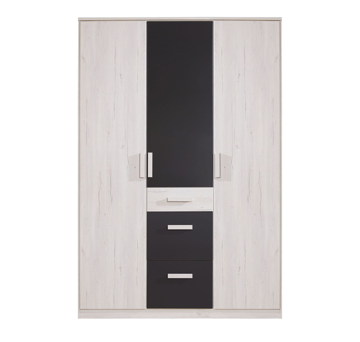 kleiderschrank mit schubladen dreht ren wei eiche dekor. Black Bedroom Furniture Sets. Home Design Ideas