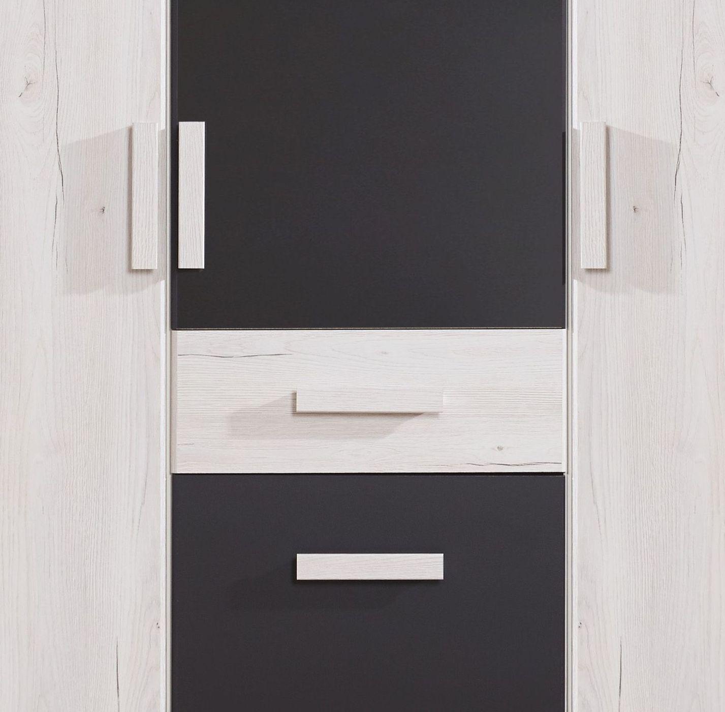 kleiderschrank mit schubladen dreht ren wei eiche dekor mereto. Black Bedroom Furniture Sets. Home Design Ideas