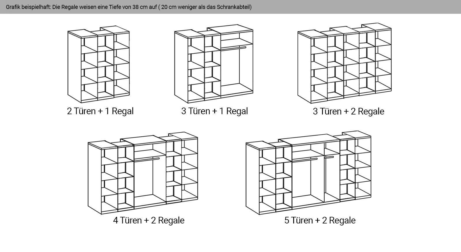 Grafische Einteilung der Regale und Türen des Kleiderschranks Morolo