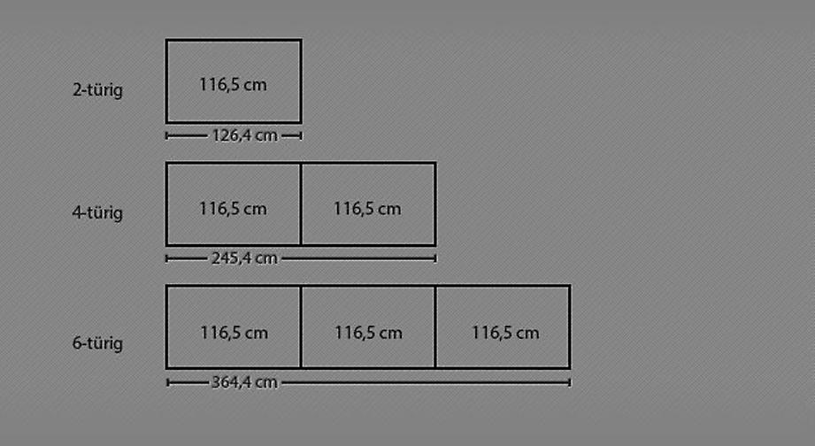 Grafik zur Breitenansicht des Drehtüren-Kleiderschranks Nidau