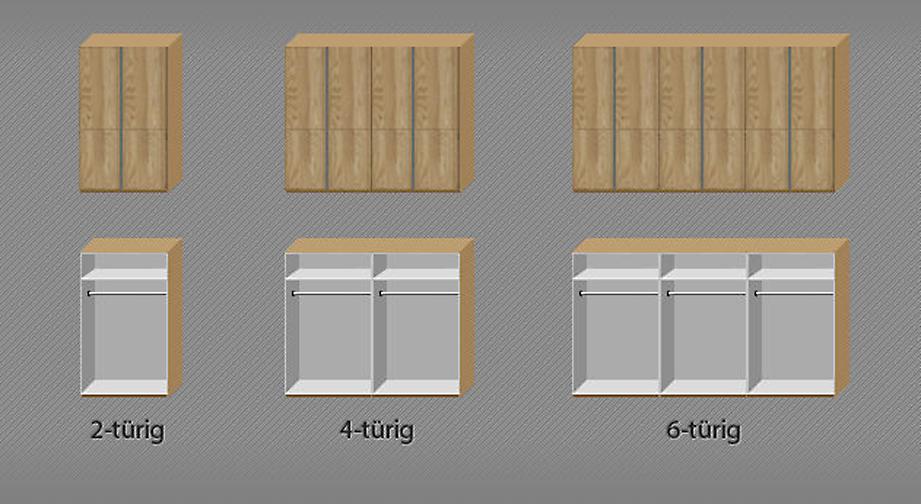Grafik zur Einteilung des Drehtüren-Kleiderschranks Nidau