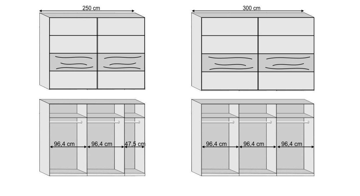 Grafik zur Aufteilung des Kleiderschranks Seabrook