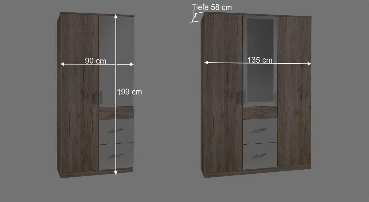 Maßgrafik zum 2-3-türigen Kleiderschrank Zagra