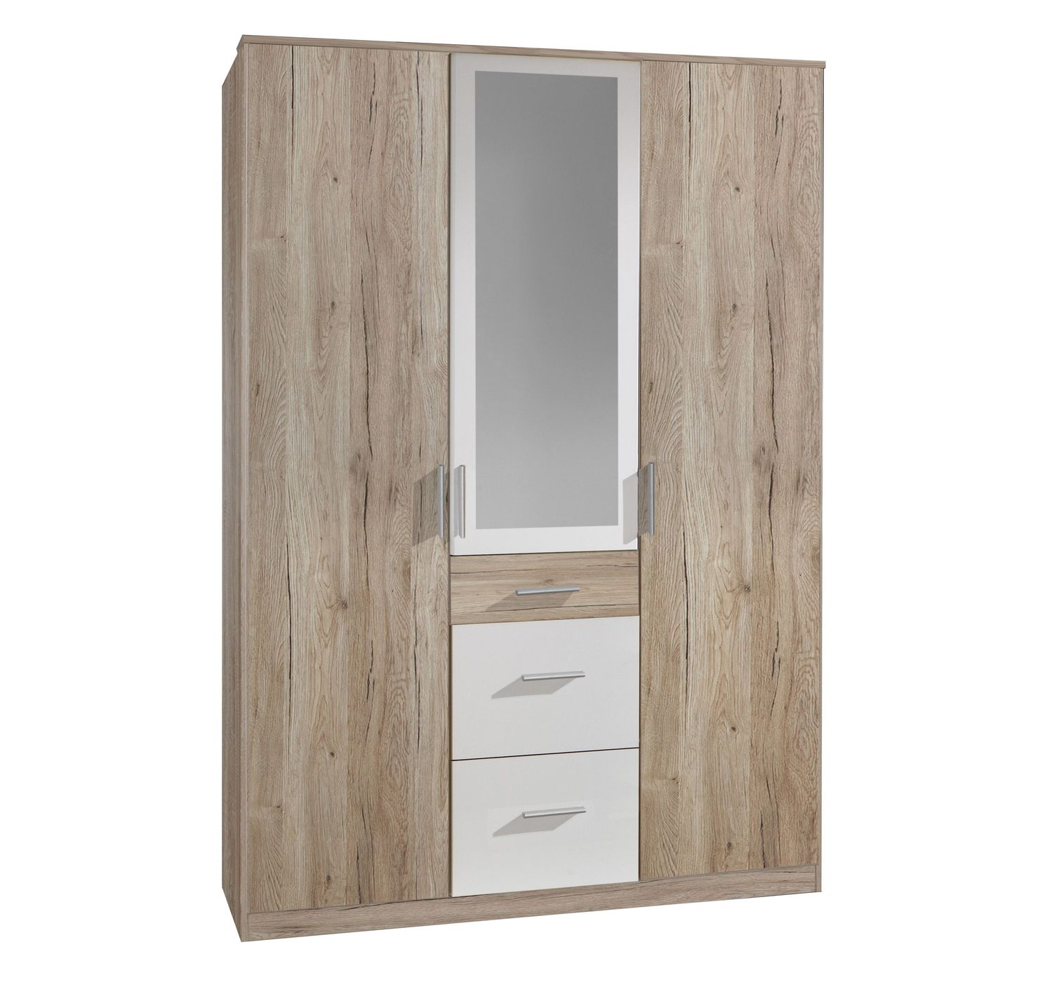 kleiderschrank eiche dekor und alpinwei mit 3 schubladen zagra. Black Bedroom Furniture Sets. Home Design Ideas