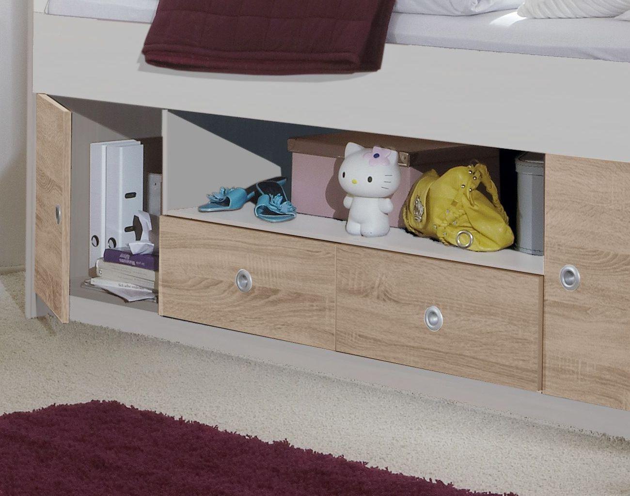 wei es kojenbett mit stauraum in schubladen und f chern prea. Black Bedroom Furniture Sets. Home Design Ideas