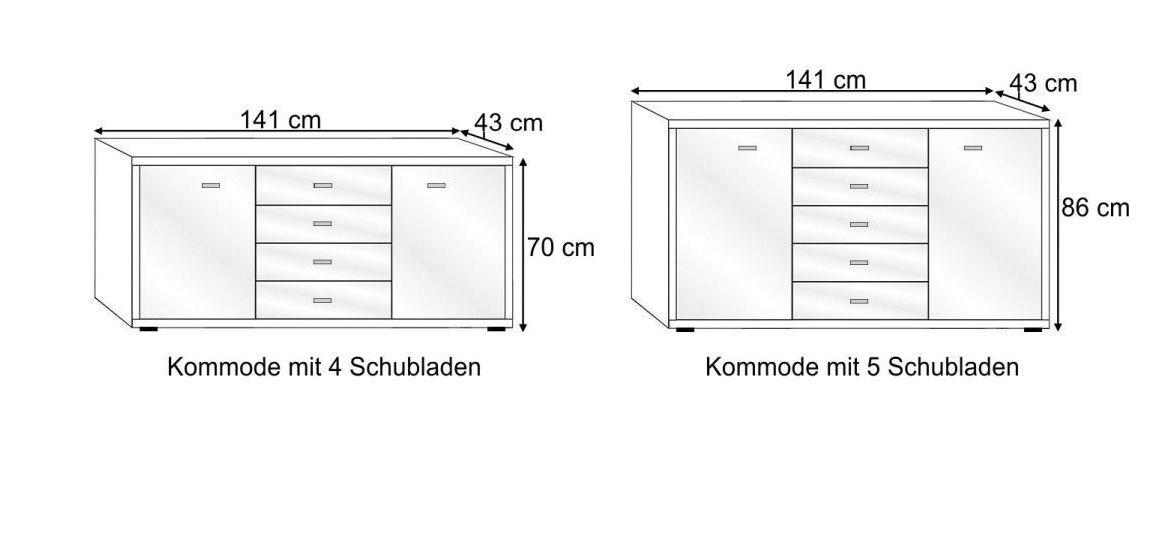 Grafik zu den Varianten der Kombi-Kommode Plymouth