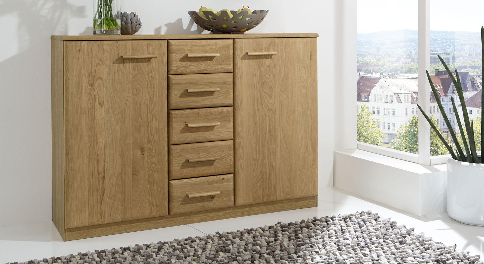 kombi kommode in eiche mit schubladen und schrankf chern temir. Black Bedroom Furniture Sets. Home Design Ideas