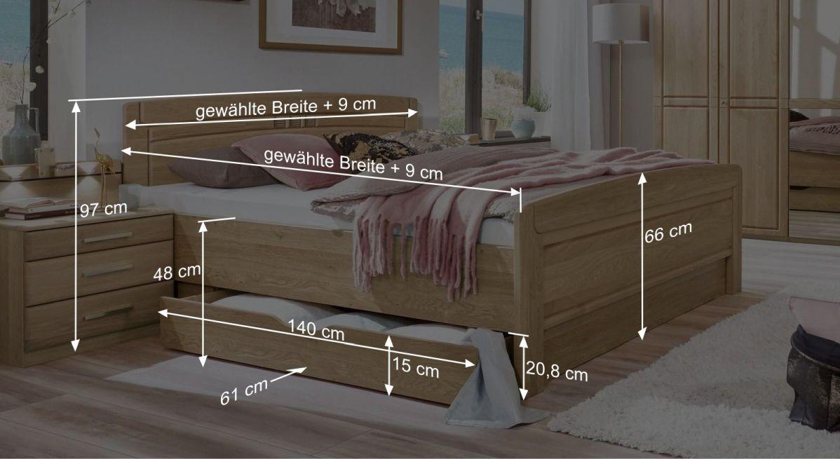 Bemaßungsgrafik vom Komfort-Doppelbett Bloomfield