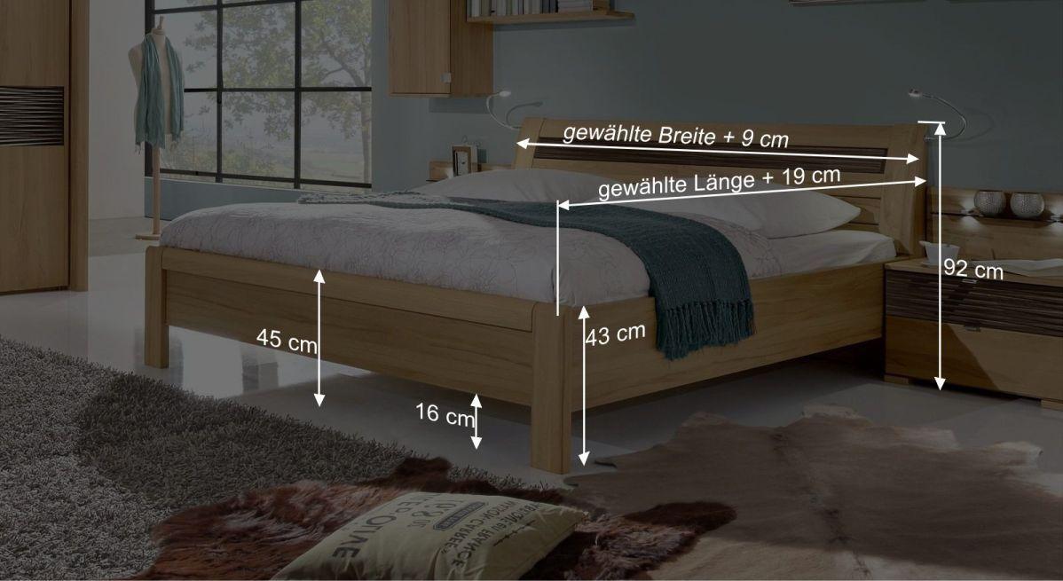 Bemaßungsgrafik zum Komfort-Doppelbett Burbia