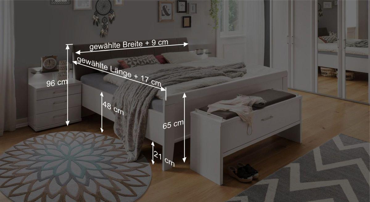 Bemaßungsgrafik zum Komfort-Doppelbett Casperia