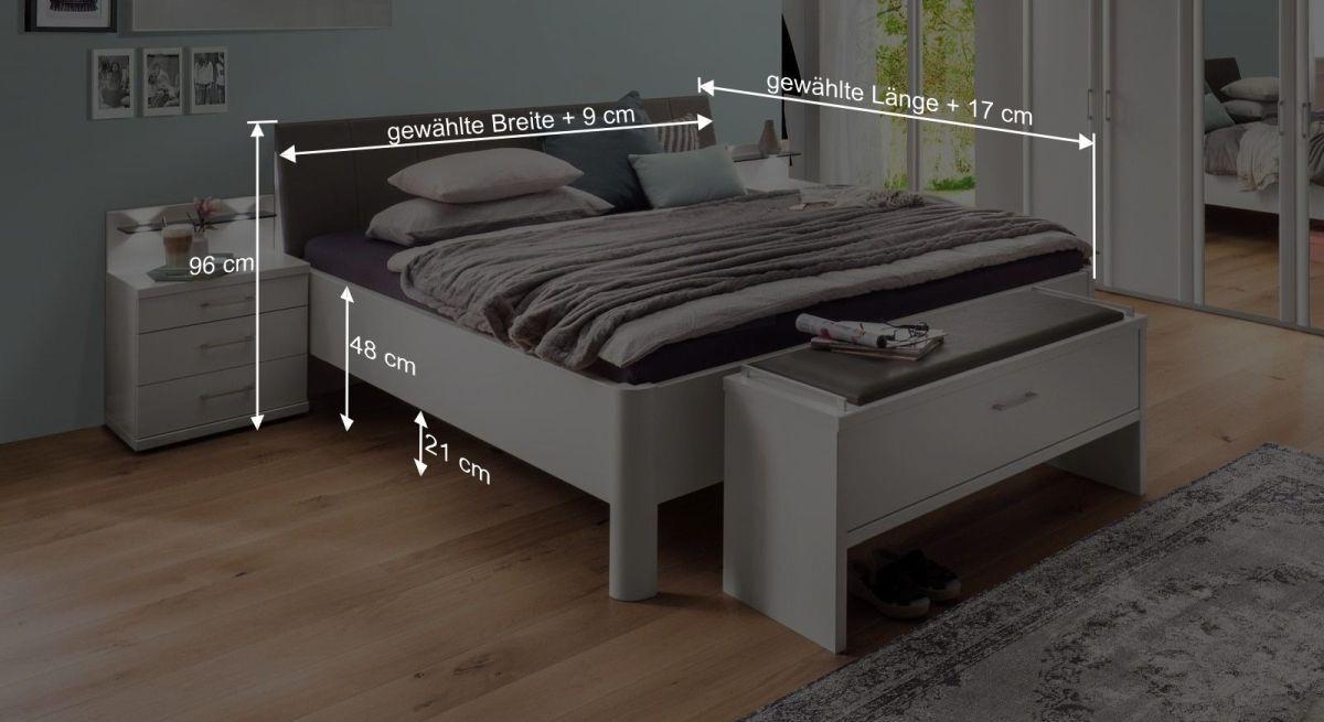 Bemaßungsgrafik zum Komfort Doppelbett Castelli