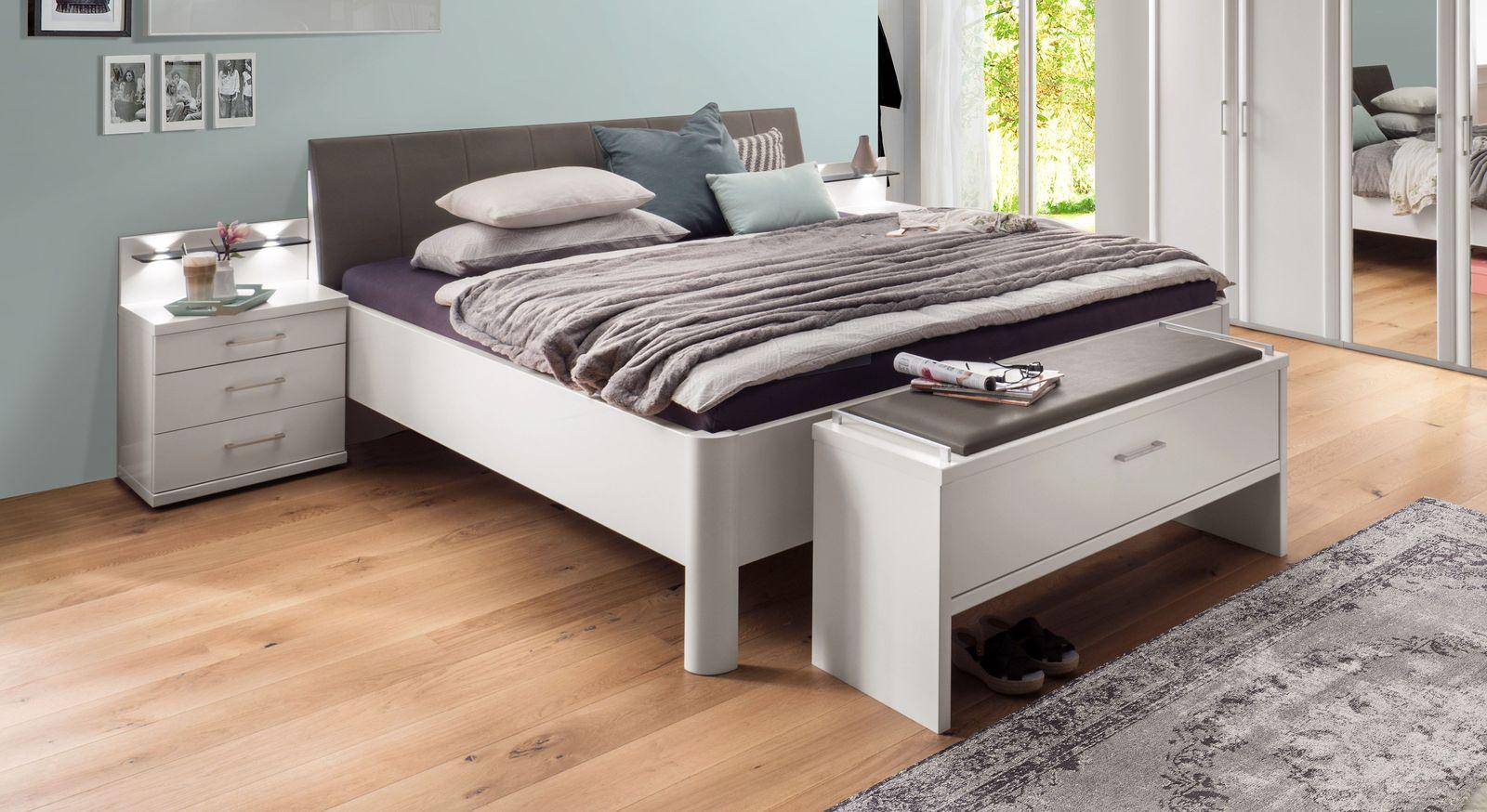 Komfort-Doppelbett Castelli in alpinweißem Dekor