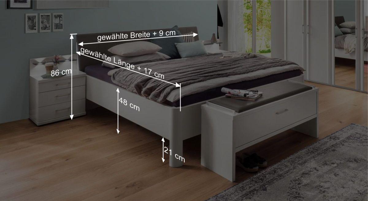 Bemaßungsgrafik zum Komfort-Doppelbett Castelli