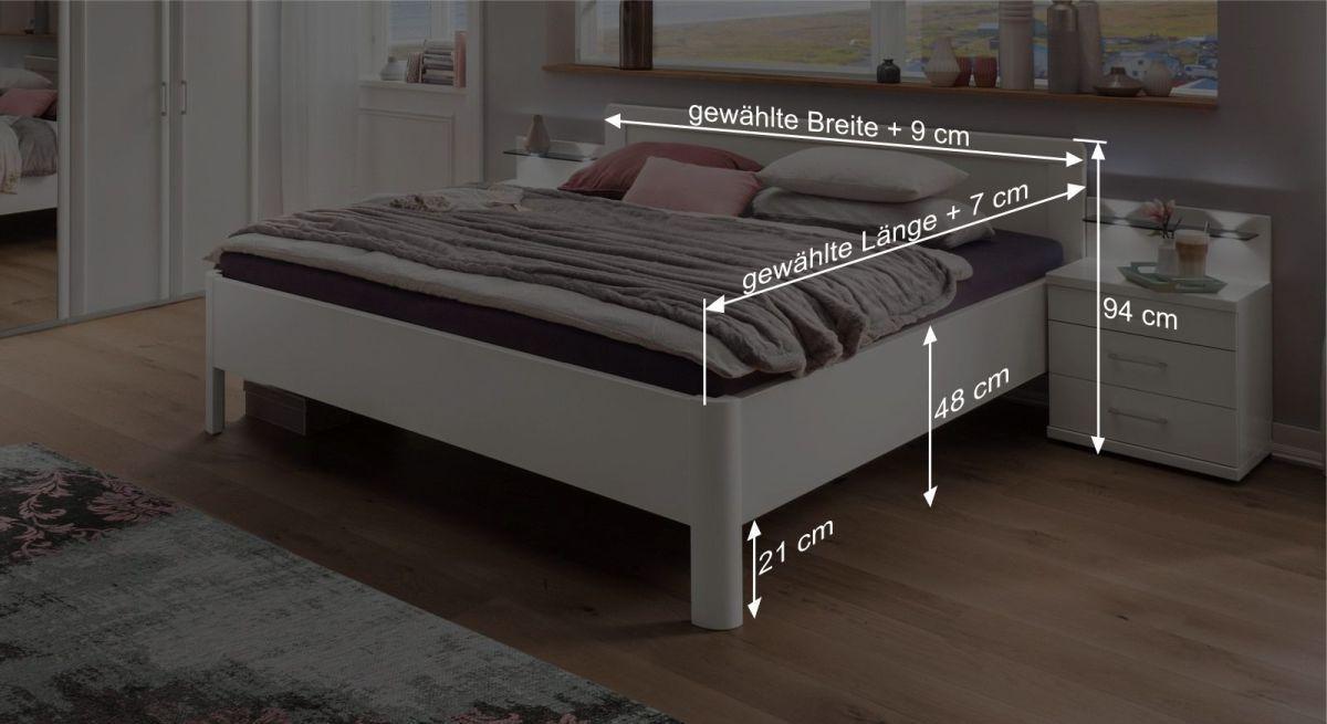 Bemaßungsgrafik zum Komfort-Doppelbett Cavallino