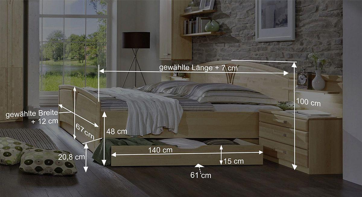 Komfort-Doppelbett Karia Bemaßungsgrafik