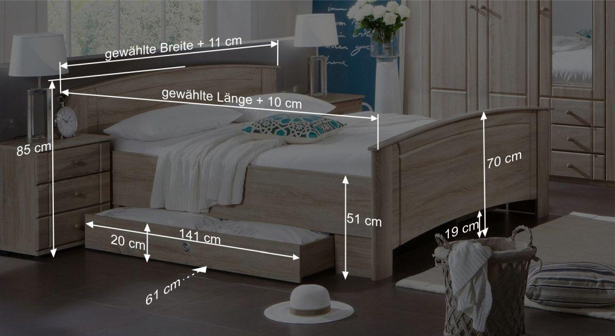 Bemaßungsgrafik zum Komfort Doppelbett Martano
