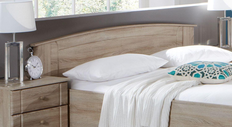 Komfort-Doppelbett Martano mit gebogenem Kopfteil