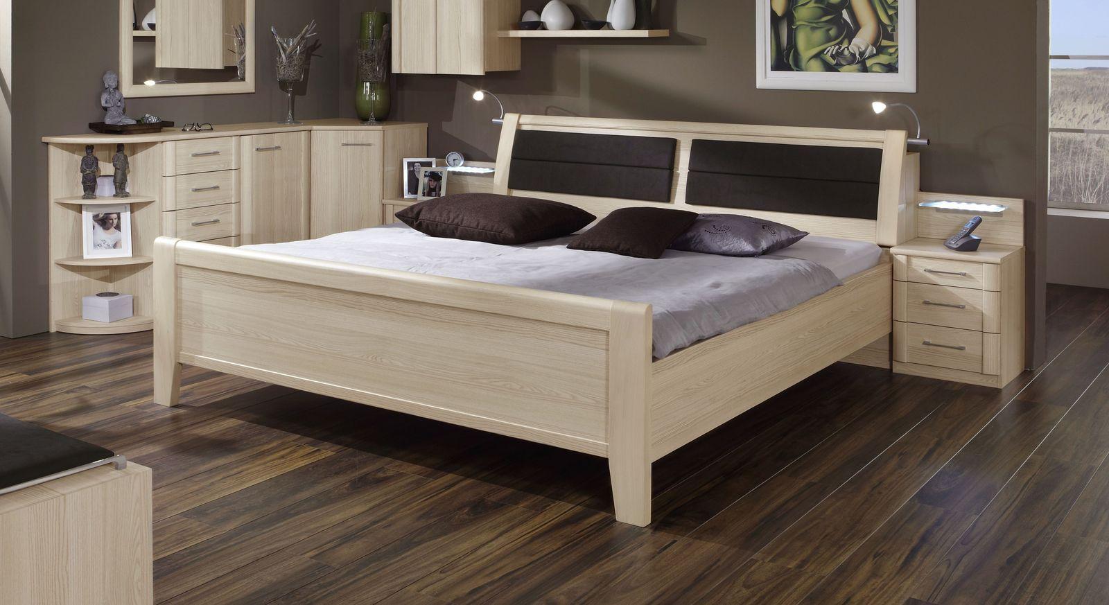 Komfort-Doppelbett Rapino in Edel-Esche Dekor