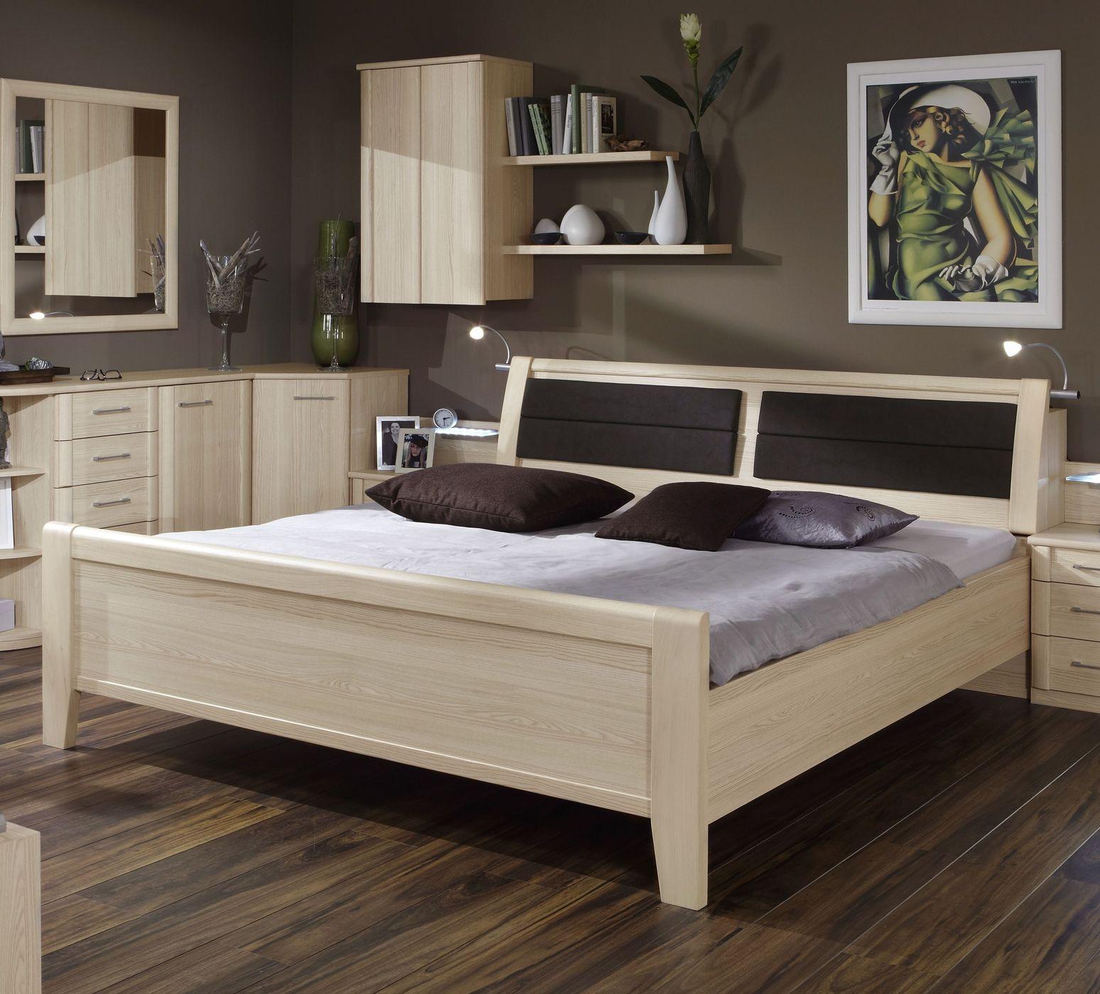 Doppelbett Mit Hohem Einstieg In Edel Esche Dekor Rapino