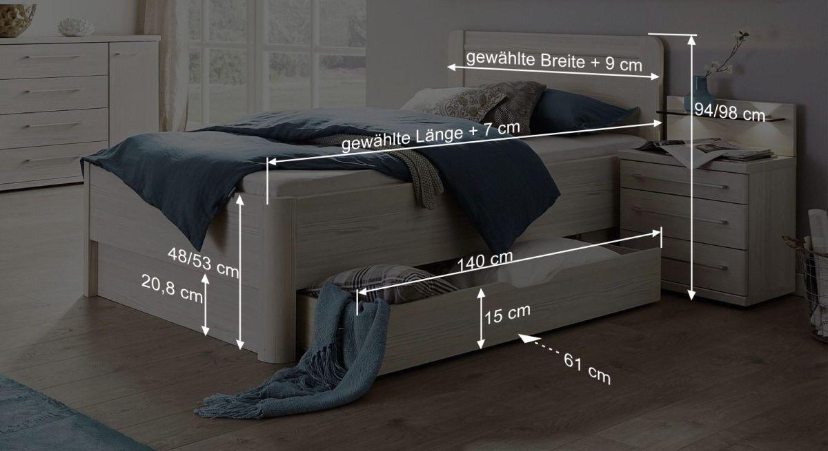 Bemaßungsgrafik zum Komfort-Einzelbett Apolda
