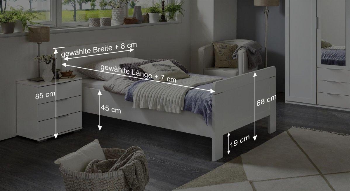 Komfort-Einzelbett Aradeos Bemaßungsgrafik