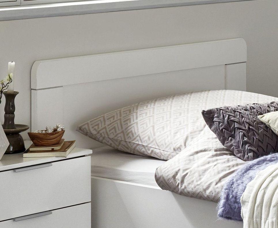 Weißes Einzelbett in Komforthöhe mit hohem Fußteil - Aradeo
