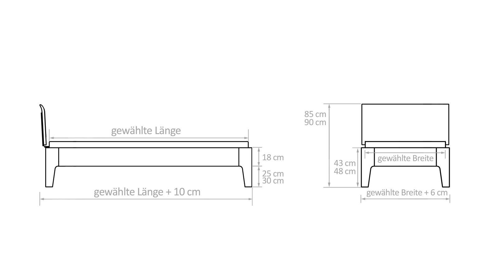 Grafik mit den Maßen des Komfort-Einzelbetts Baleira