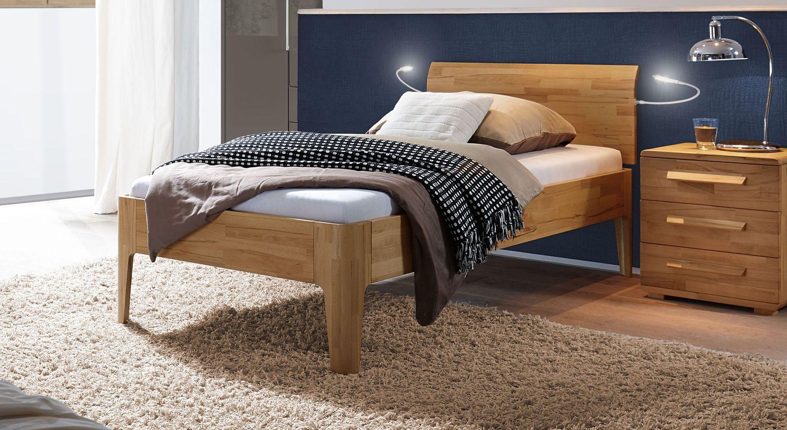 Komfort-Einzelbett Baleira aus massiver Kernbuche
