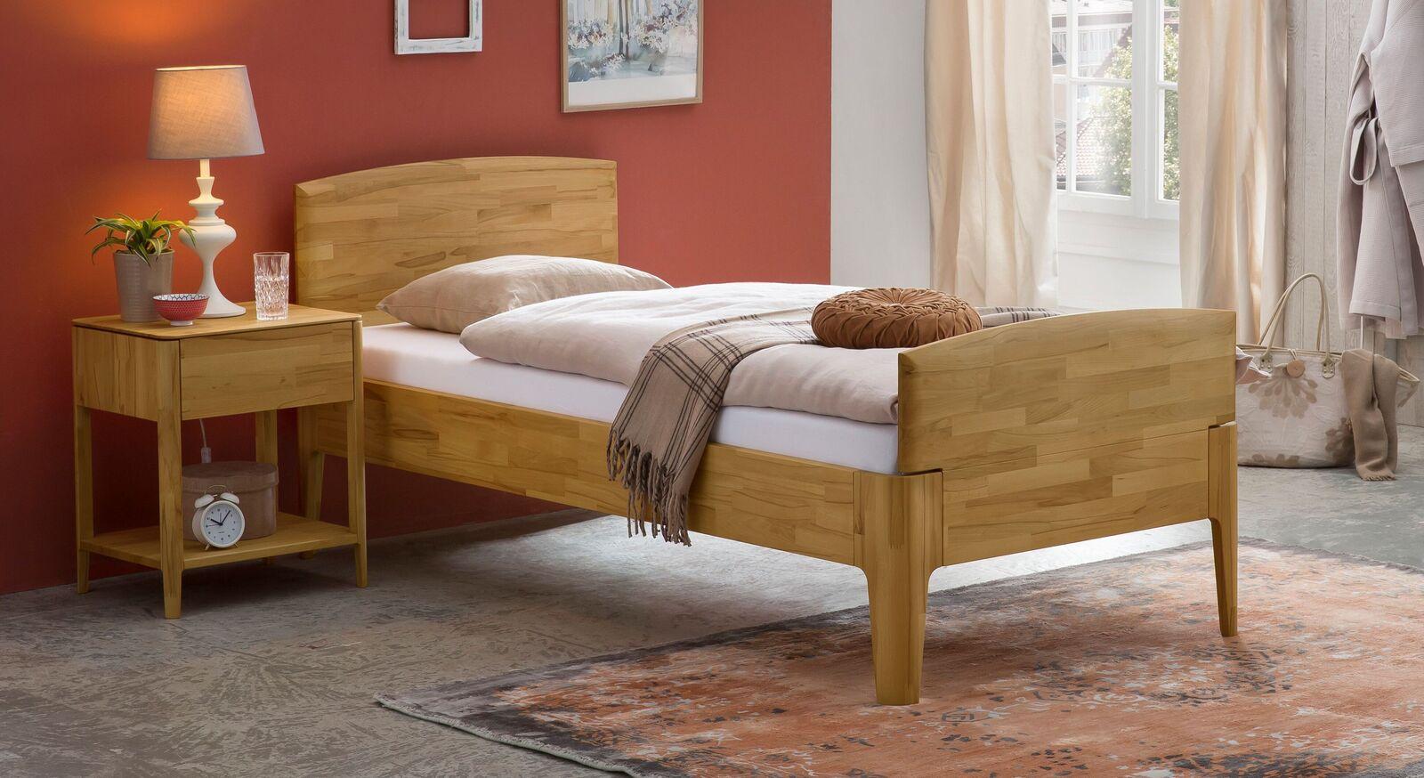 Komfort-Einzelbett Brunon aus massiver Kernbuche