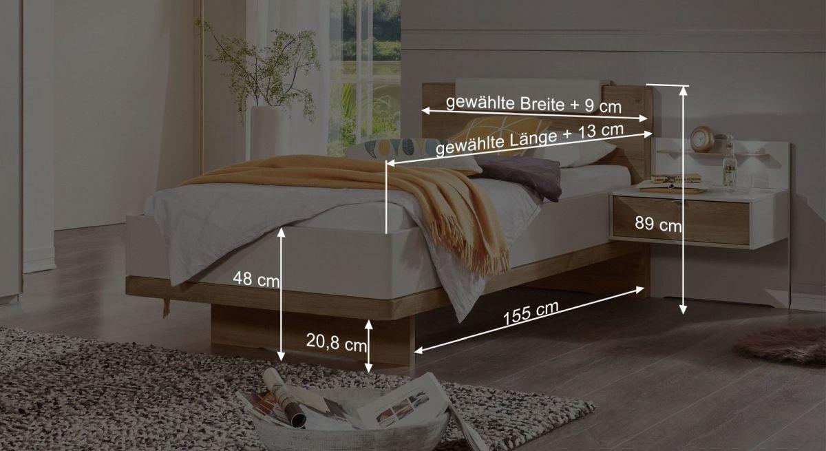 Komfort-Einzelbett Dolavons Bemaßungsgrafik