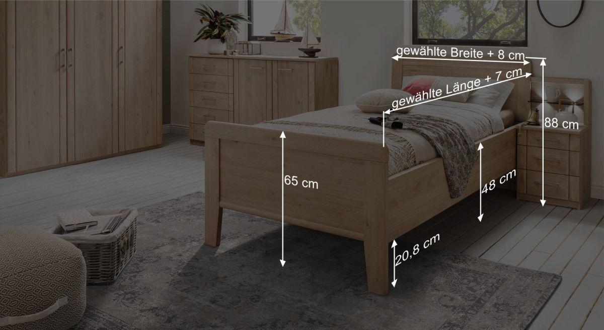 Bemaßungsgrafik zum Komfort-Einzelbett Herdorf