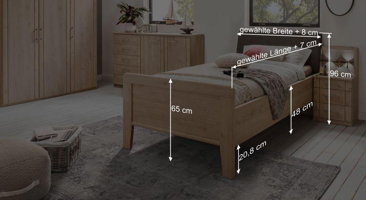 Bemaßungsgrafik zum Komfort-Einzelbett Herdorf mit Polster-Kopfteil