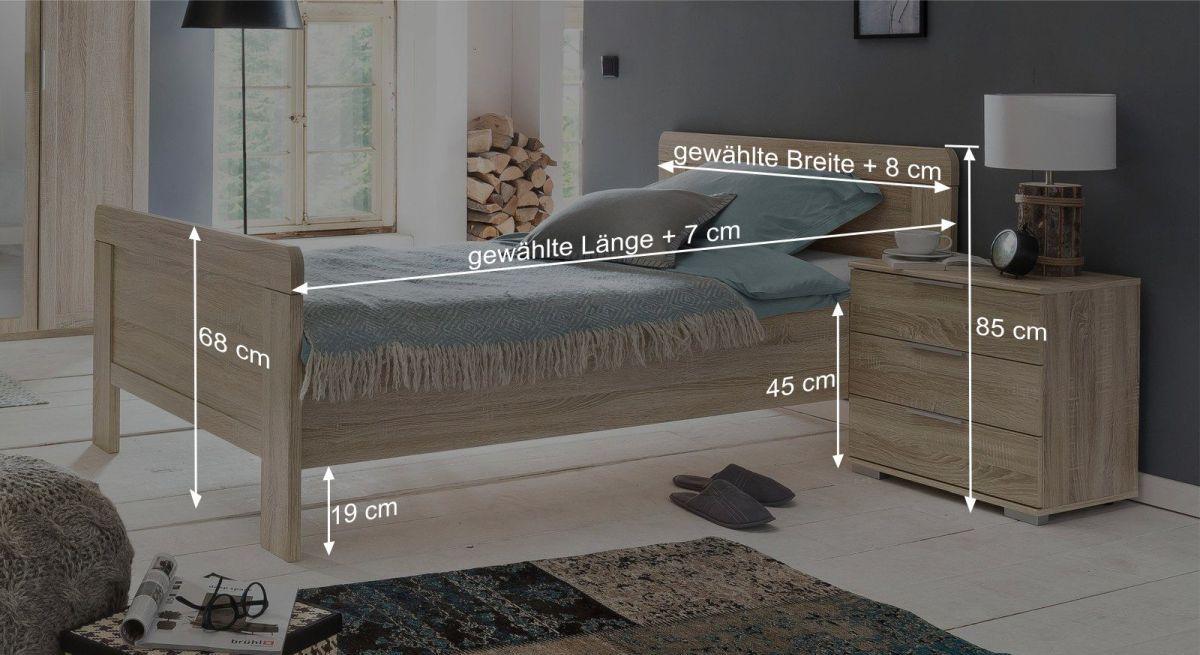 Komfort-Einzelbett Sinellos Bemaßungsgrafik