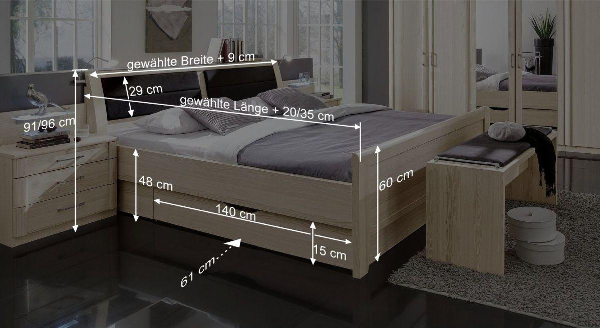 Komfort-Schubkastenbett Rapinos Bemaßungsgrafik