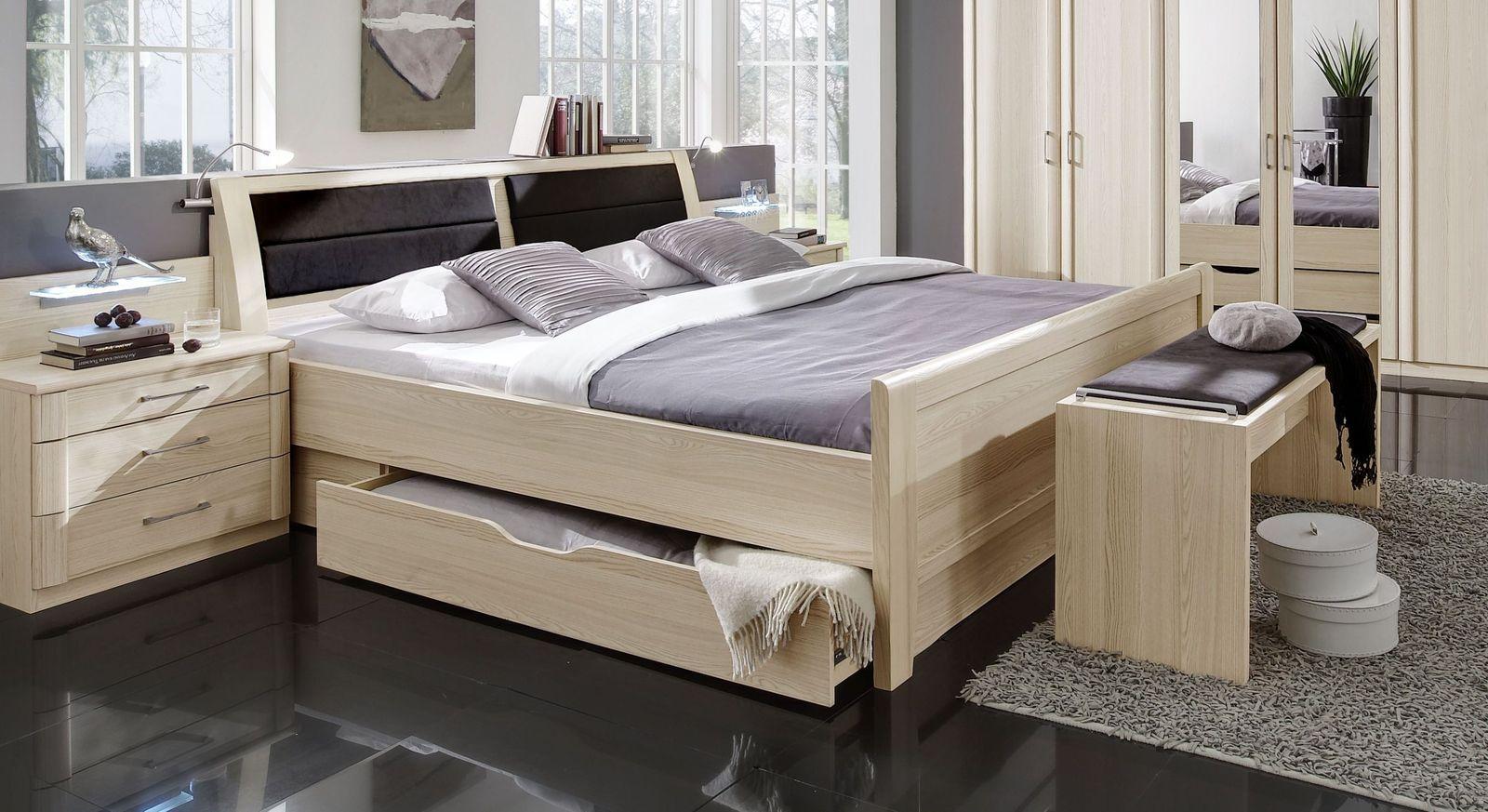 Komfort-Schubkasten-Bett Rapino mit kompletter Schlafzimmer-Einrichtung