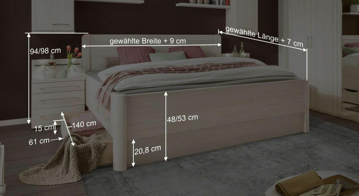 Bemaßungsgrafik zum Komfort-Schubkastenbett Pegau