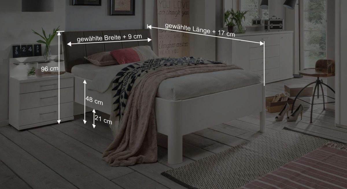 Bemaßungsgrafik zum Komfortbett Castelli