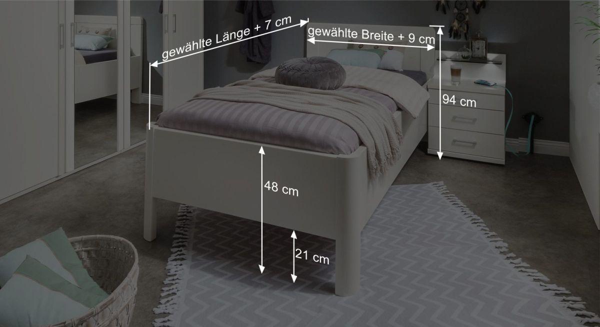 bemaßungsgrafik zum Komfortbett Cavallino