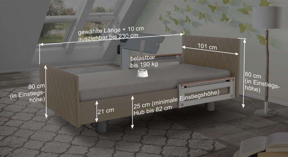 Bemaßungsgrafik vom Komfortbett mit Pflegebett-Funktion Borkum