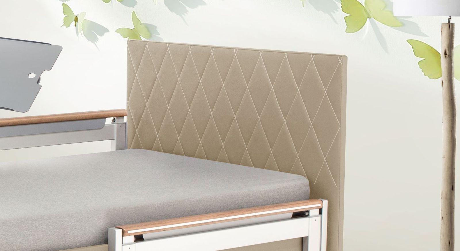 Komfortbett mit Pflegebett-Funktion Borkum mit stylischem Steppbezug