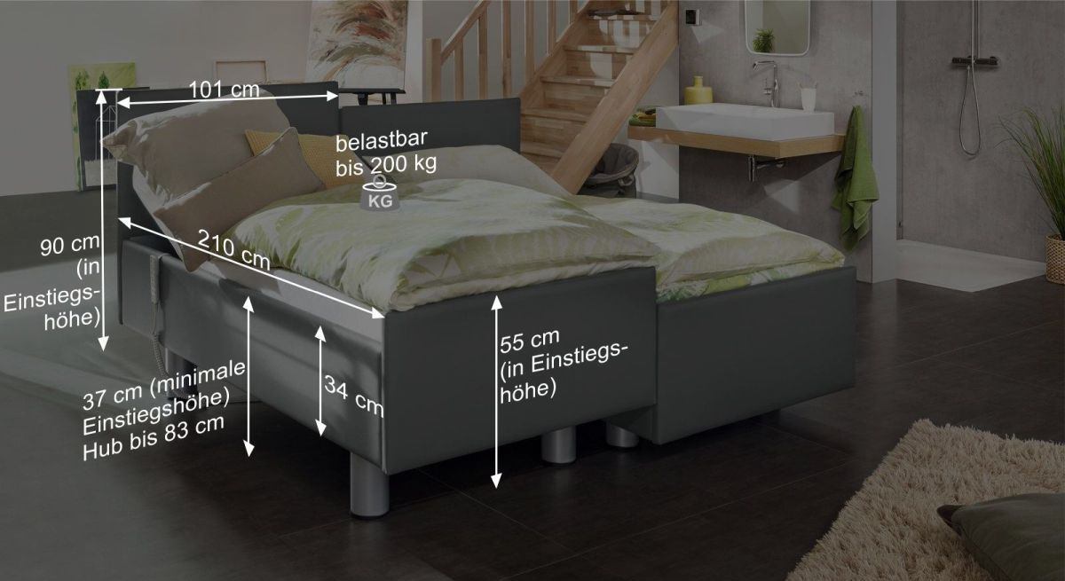 Bemaßungsgrafik vom Komfortbett mit Pflegebett-Funktion Fulda