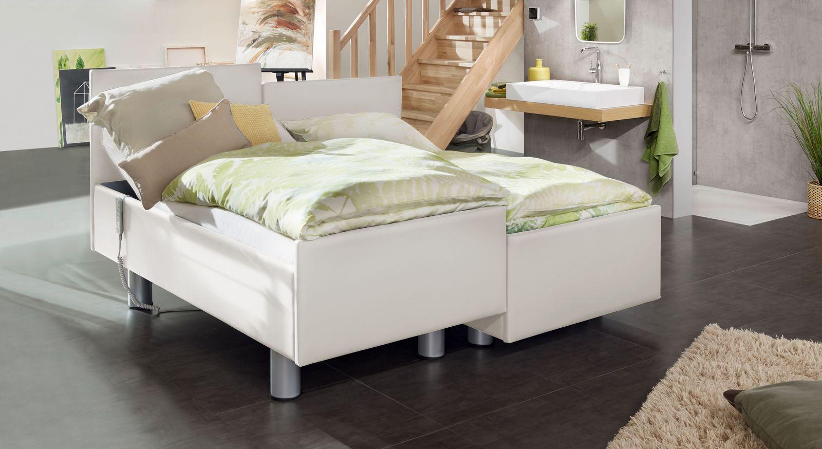 Komfortbett mit Pflegebett-Funktion Fulda in weißem Kunstleder