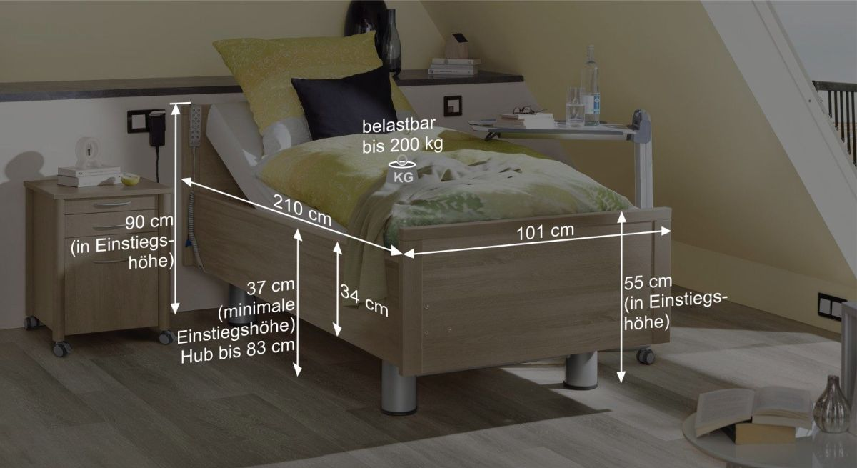 Bemaßungsgrafik vom Komfortbett mit Pflegebett-Funktion Isar
