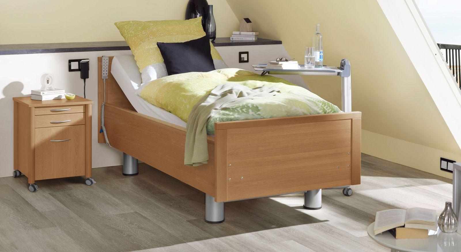 Komfortbett mit Pflegebett-Funktion Isar in Birnbaum Dekor