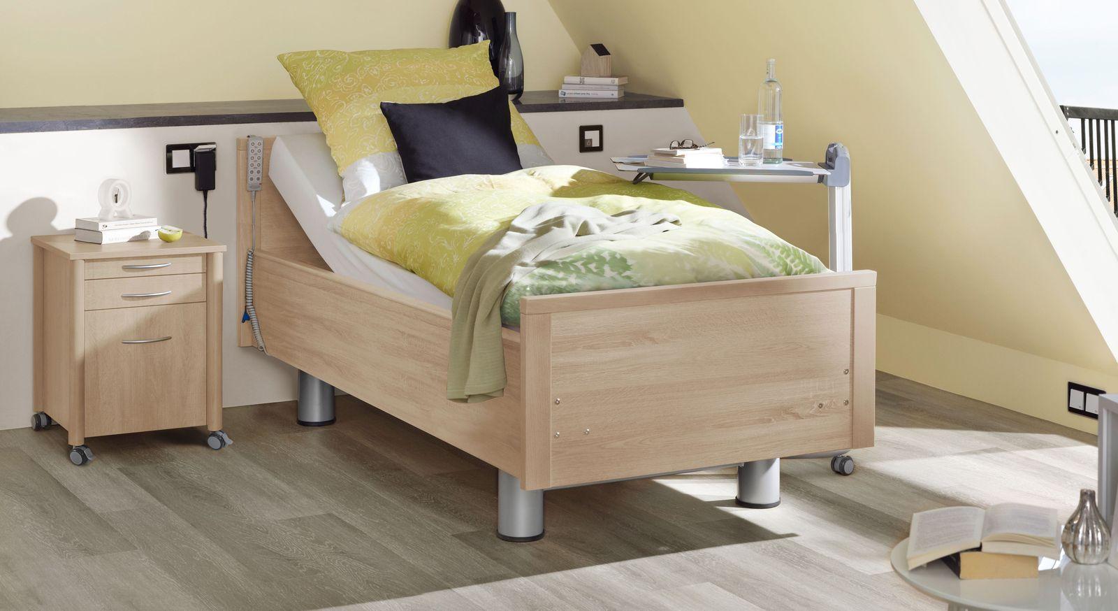 Komfortbett mit Pflegebett-Funktion Isar in Eiche Dekor