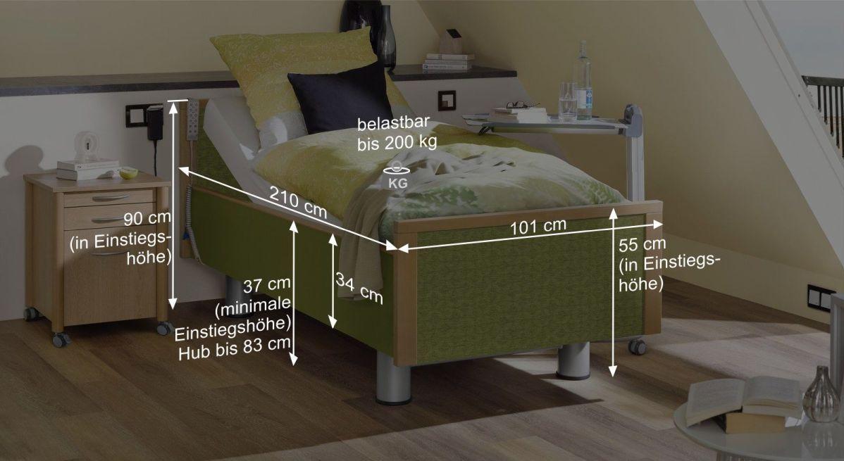 Bemaßungsgrafik vom Komfortbett mit Pflegebett-Funktion Mainau