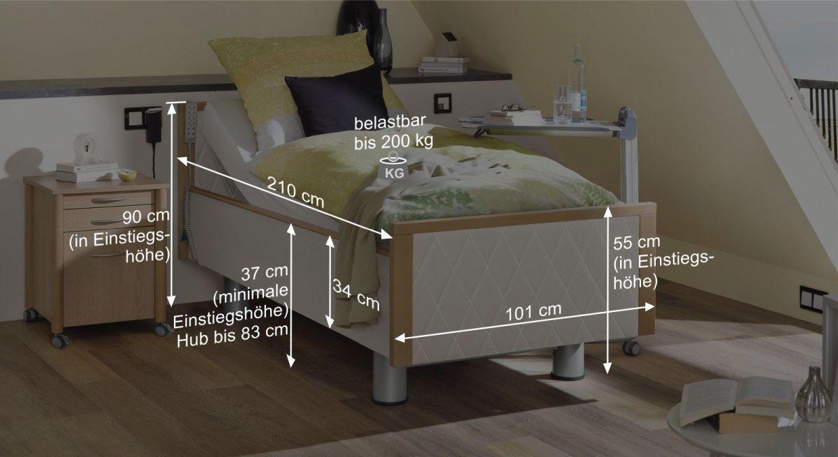 Bemaßungsgrafik vom Komfortbett mit Pflegebett-Funktion Rügen