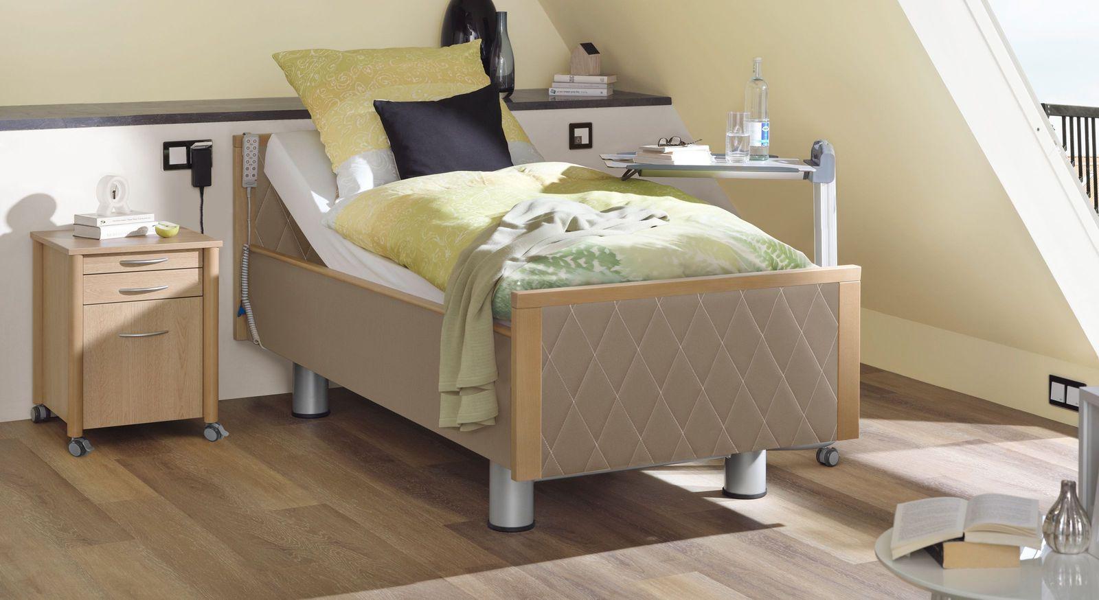 Komfortbett mit Pflegebett-Funktion Rügen in harmonischem Taupe
