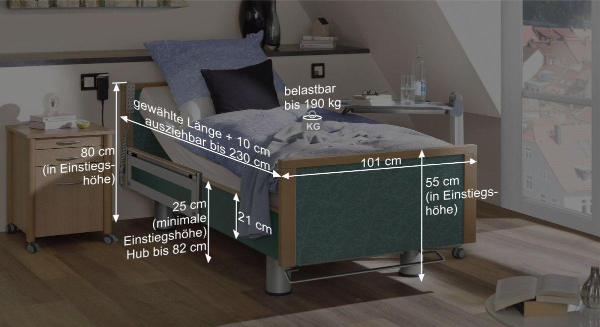 Bemaßungsgrafik vom Komfortbett mit Pflegebett-Funktion Sylt