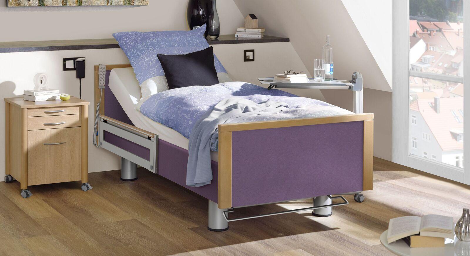 Komfortbett mit Pflegebett-Funktion Sylt mit violettem Stoff